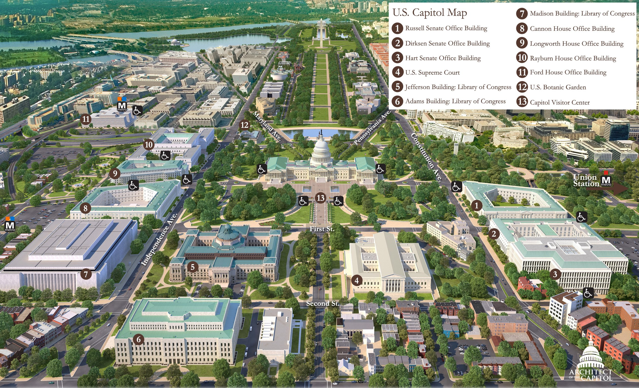 U.S. Capitol Map - Washington DC