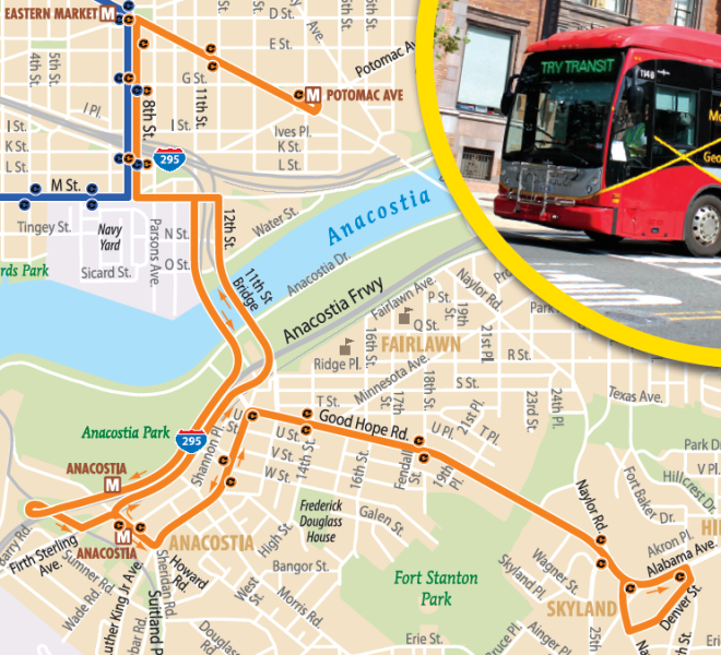DC Circulator: Potomac Avenue Metro to Skyland via Barracks Row