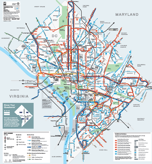 Metrobus Map  Washington DC