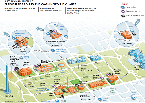 graphic regarding Printable Map of Dc titled Map of Smithsonian Museums